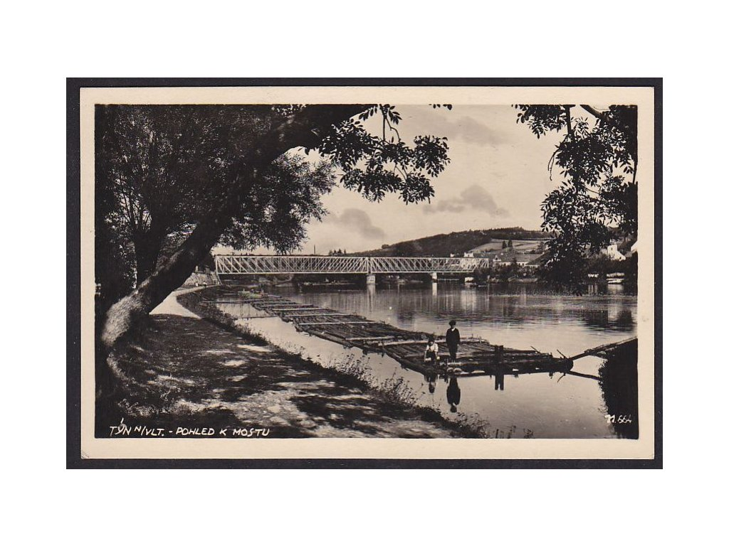 12- Českobudějovicko, Týn nad Vltavou, voraři u mostu, ca 1935