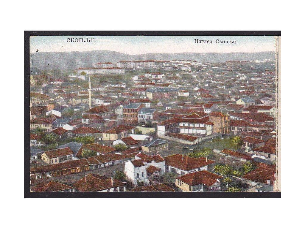 Makedonie, Skopje ( Skopje,  Skoplje,  Shkupi,  Üsküp), panoramatická rozkládací pohlednice, ca 1910