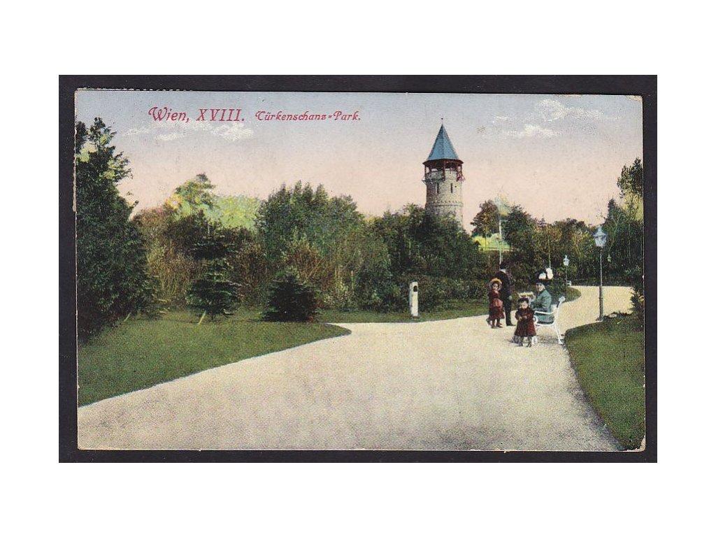 Rakousko, Vídeň, Türkenschanzpark , ca 1918