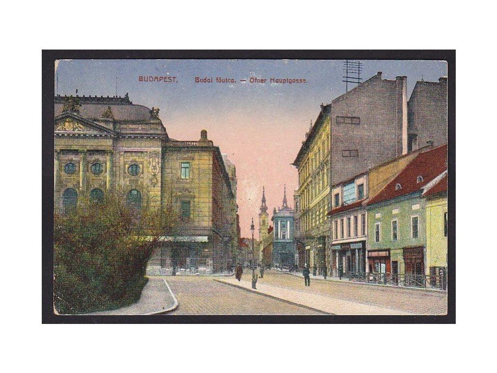 Maďarsko, Budapešť, Budajská hlavní ulice, ca 1918