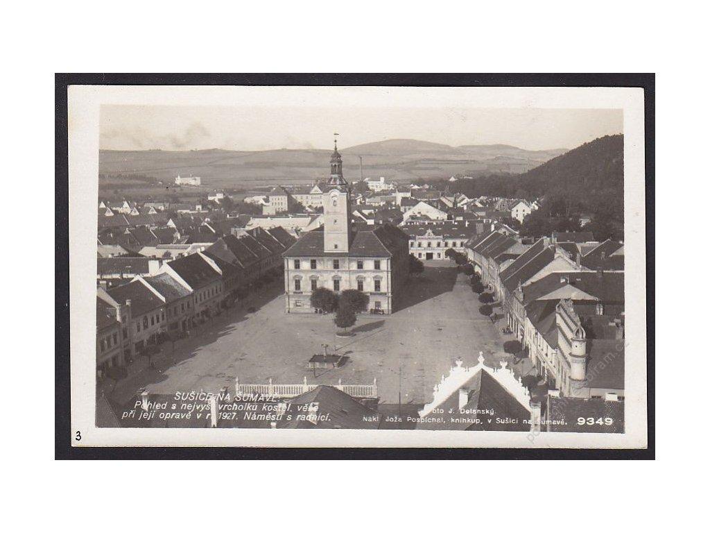 28- Šumava, Sušice, pohled z kostela, Foto Fon, ca 1930