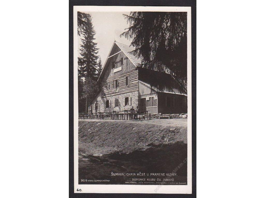 28- Šumava, chata u pramene Vltavy, Foto Fon, ca 1928