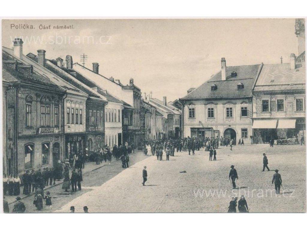 61- Svitavsko, Polička, oživená část náměstí, cca 1916