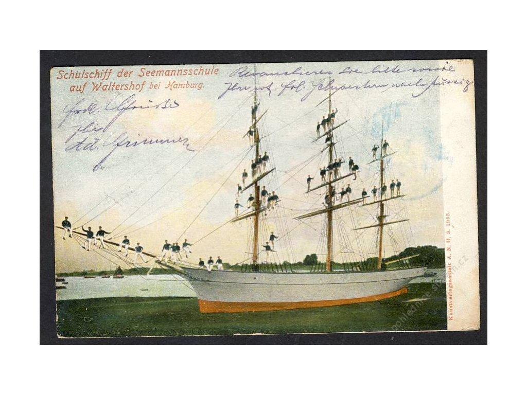 Deutschland, Schulschiff der Seemansschule auf Waltershof b. Hamburg, cca 1905
