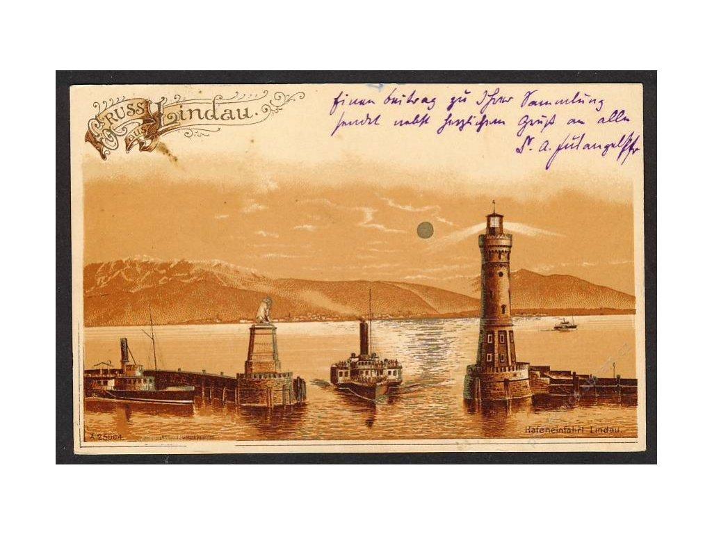Deutschland, Gruss aus Lindau, Hafeneinfahrt, cca 1900