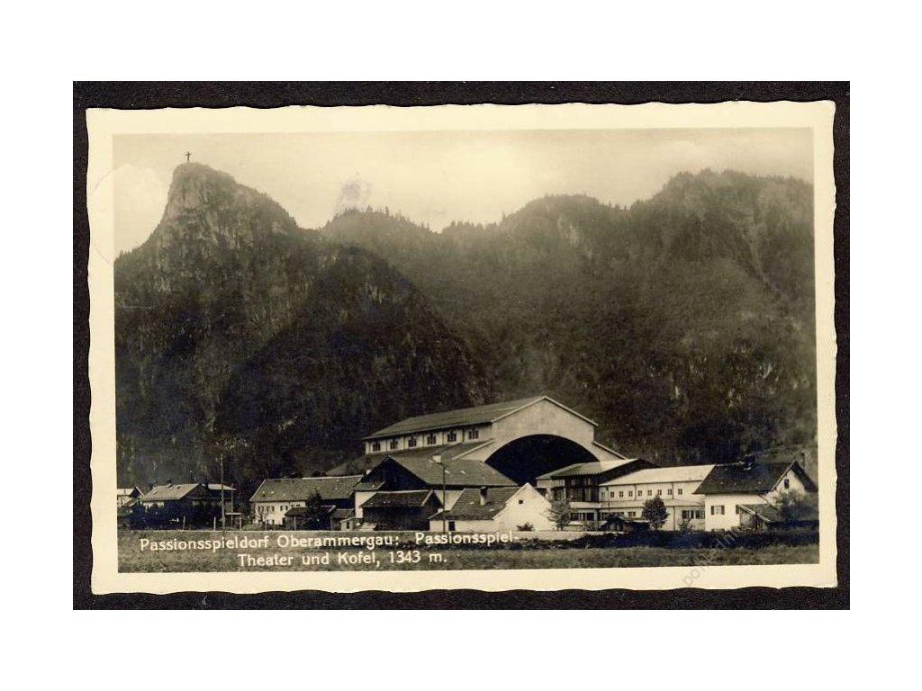 Deutschland, Passionsspieldorf Oberammergau, Theater und Kofel, cca 1930
