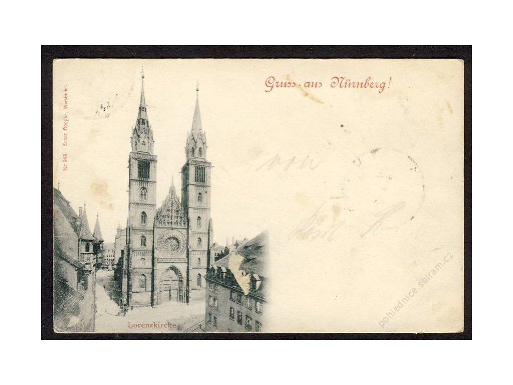 Deutschland, Gruss aus Nürnberg, Lorenzkirche, cca 1897