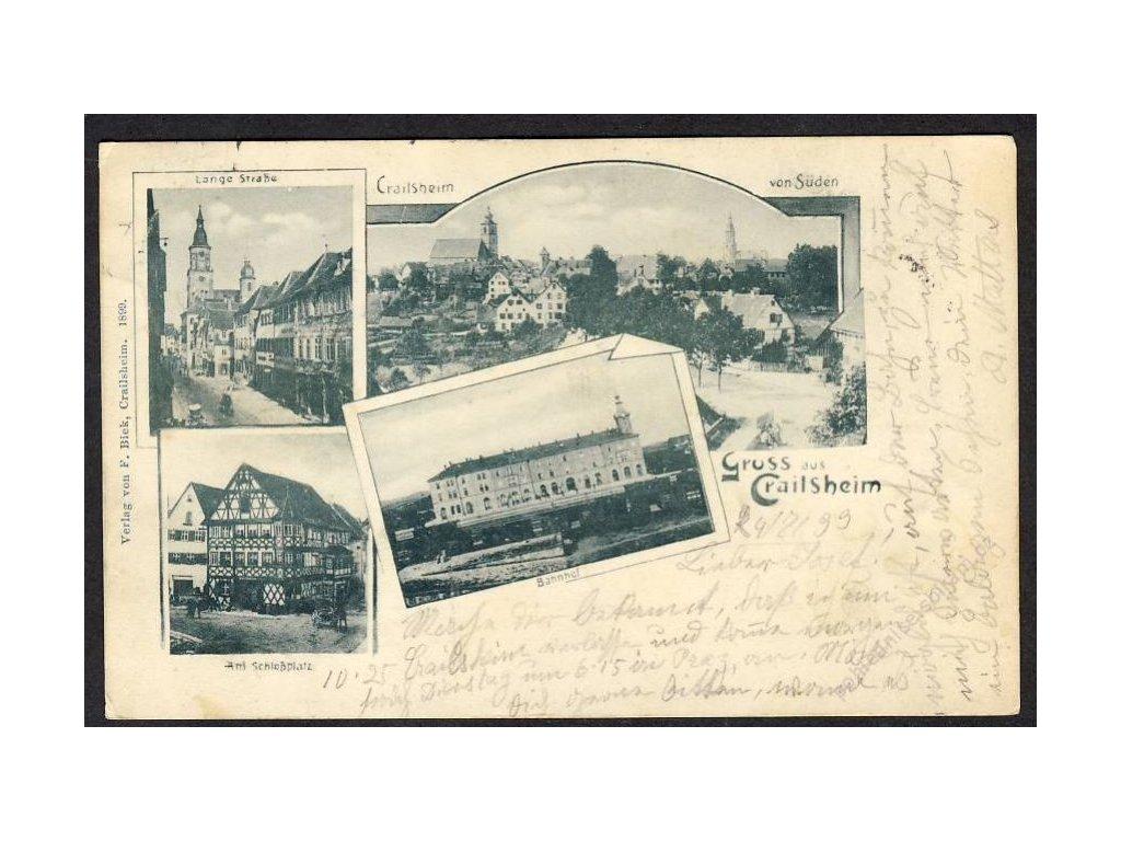 Deutschland, Gruss aus Crailsheim, Am Schlossplatz, Bahnhof u. Ä., cca 1899