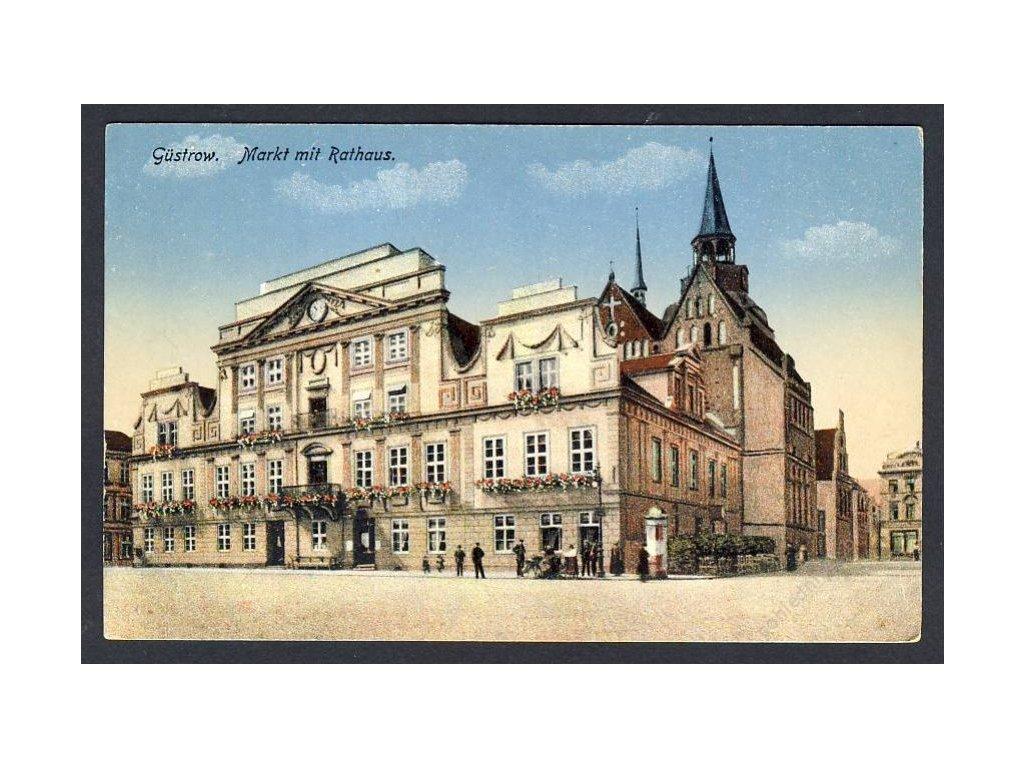 Deutschland, Güstrow, Markt mit Rathaus, cca 1908