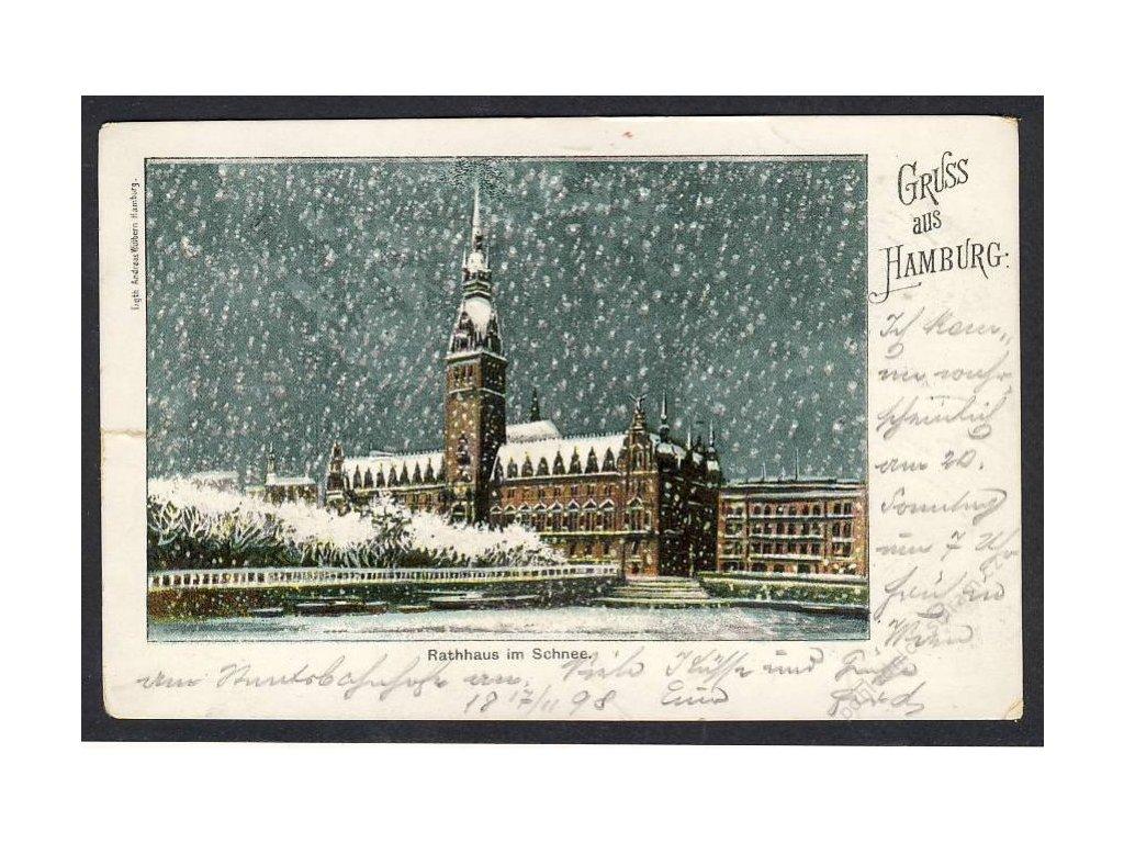 Deutschland, Gruss aus Hamburg, Rathaus im Schnee, cca 1898
