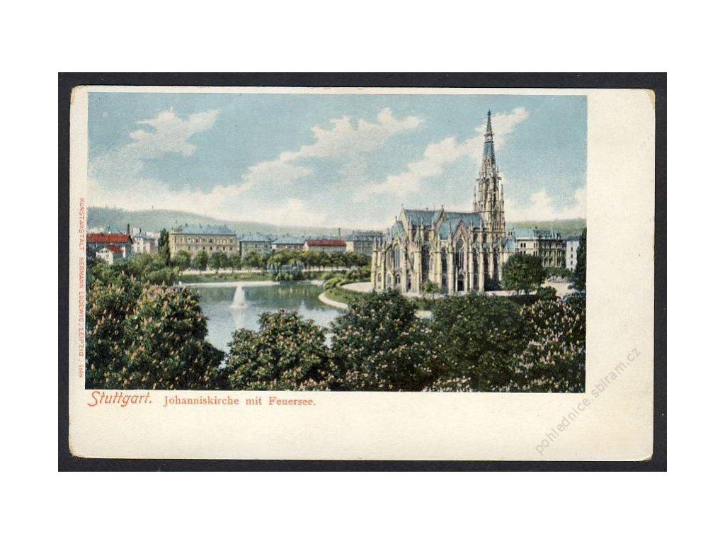 Deutschland, Stuttgart, Johanniskirche mit Feuersee, cca 1898