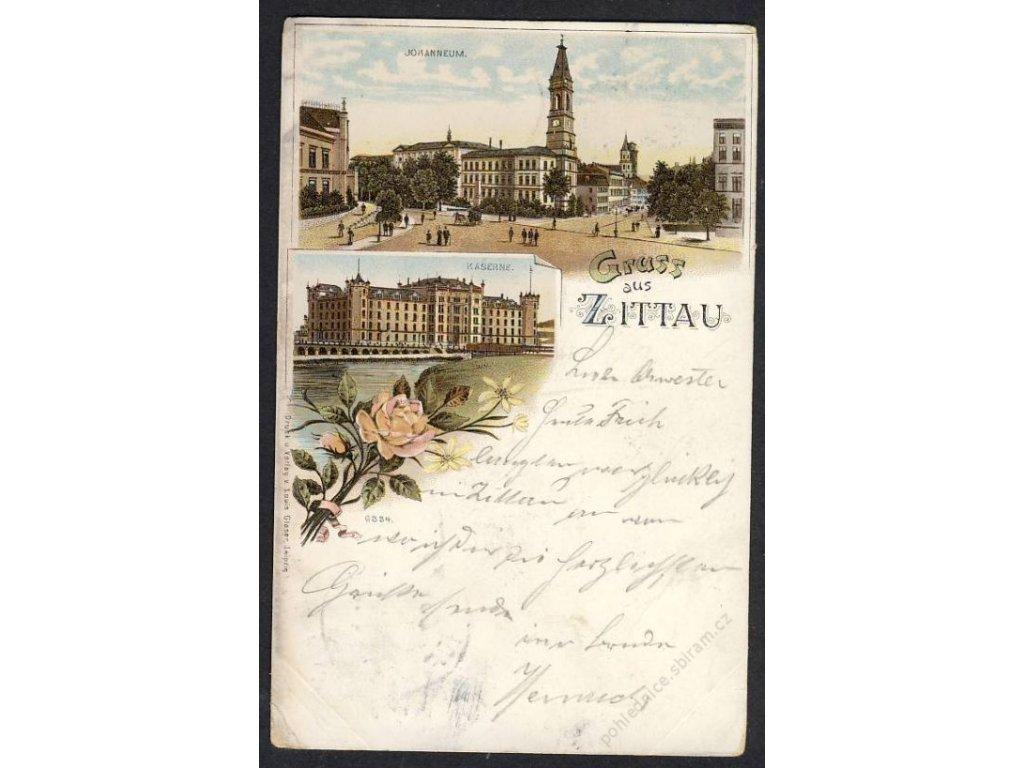 Deutschland, Gruss aus Zittau, Johanneum, Kaserne, cca 1897 (!)