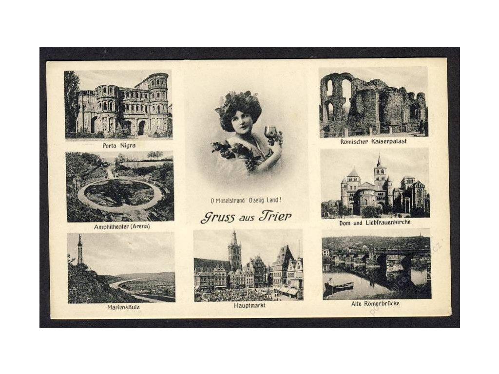 Deutschland, Gruss aus Trier, Porta Nigra, Amphitheater, Hauptmarkt u. Ä., cca 1908