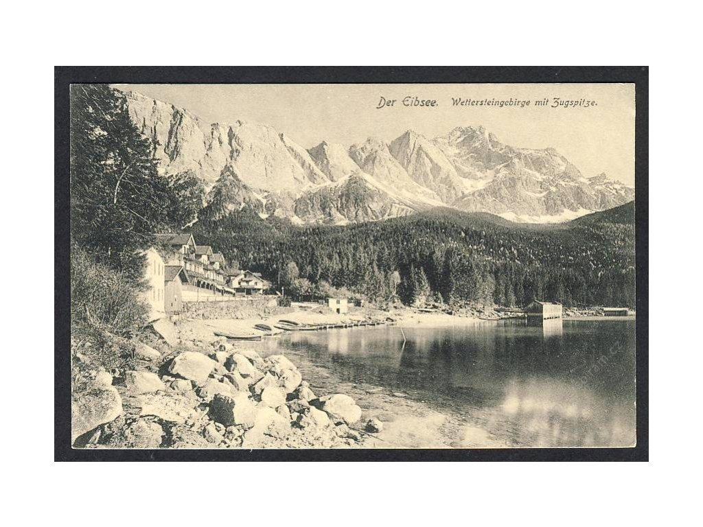 Deutschland, Der Eibsee, Wettersteingebirge mit Zugspitze, cca 1908