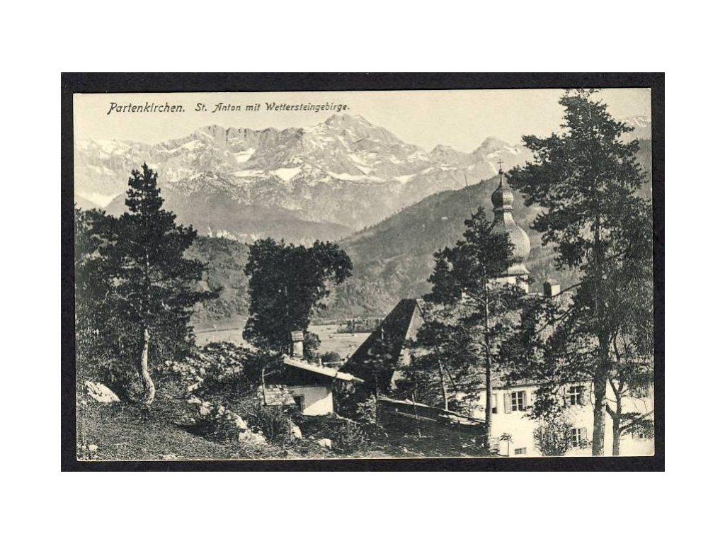 Deutschland, Partenkirchen, St. Anton mit Wettersteingebirge, cca 1908