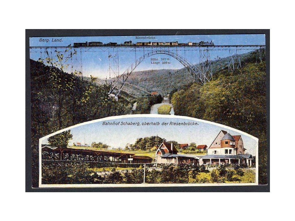Deutschland, Berg. Land., Riesenbrücke, Bahnhof Schaberg, o. der Riesenbrücke, cca 1915