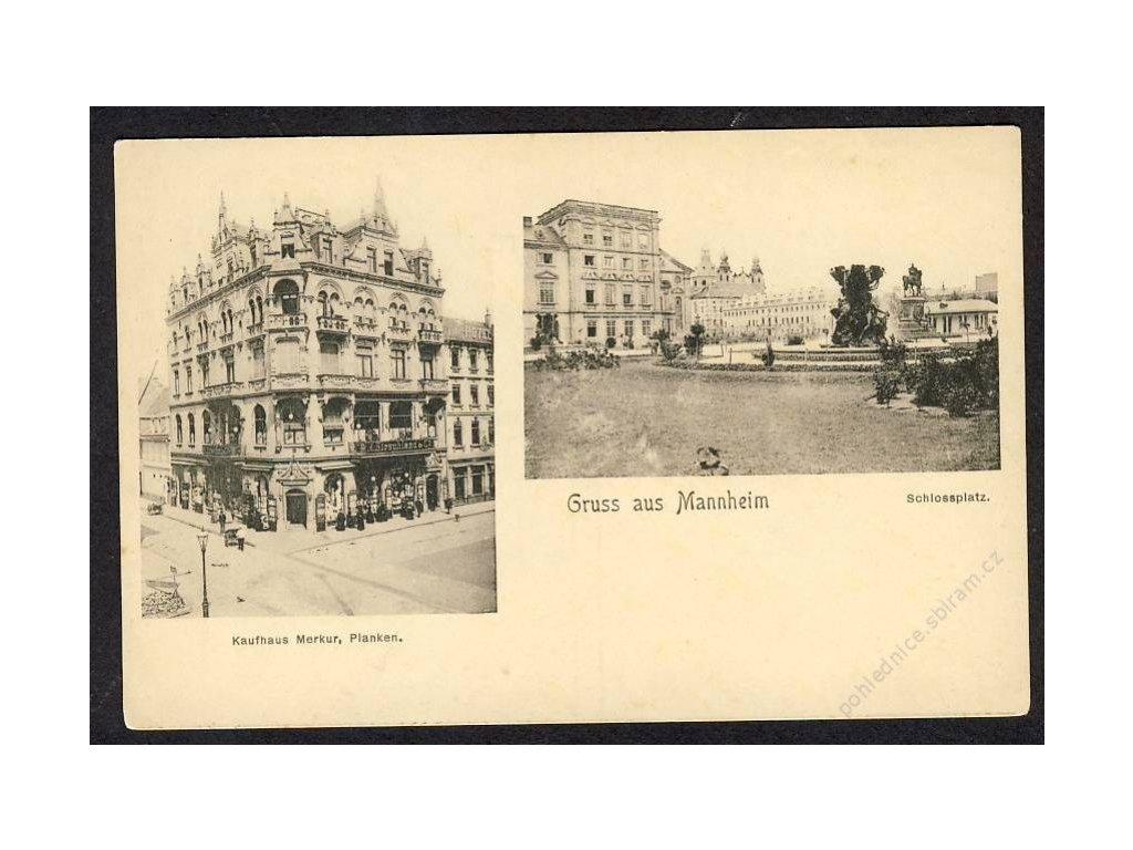 Deutschland, Gurss aus Mannheim, Kaufhaus Perkur, Schlossplatz, cca 1900
