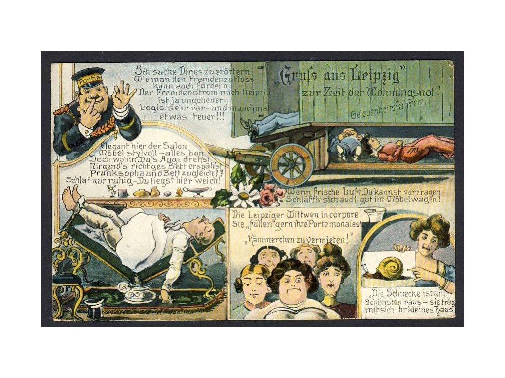 Deutschland, Gurss aus Leipzig zur Zeit der Wohnungsnot!, cca 1914