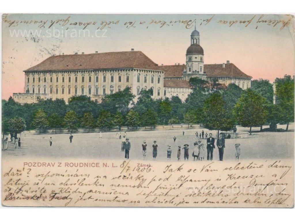 33 - Litoměřicko, Roudnice n. Labem, oživená partie před zámkem, 1901