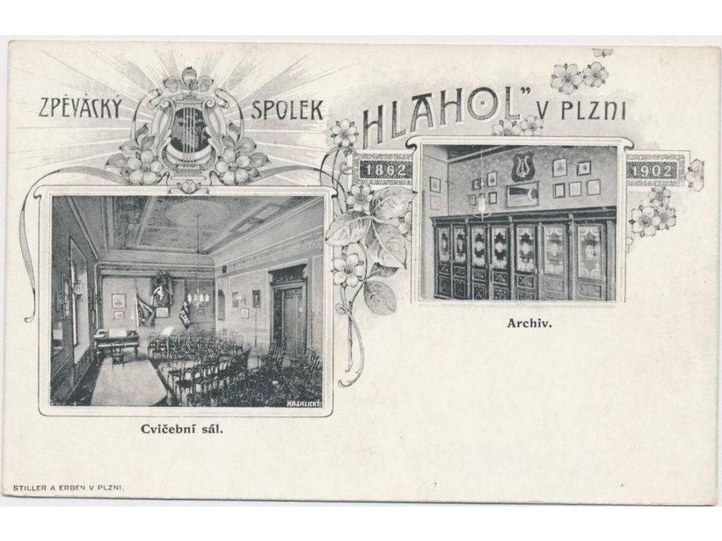 """47 - Plzeň, zpěvácký spolek """"Hlahol"""", Archiv a cvičební sál, cca 1900"""