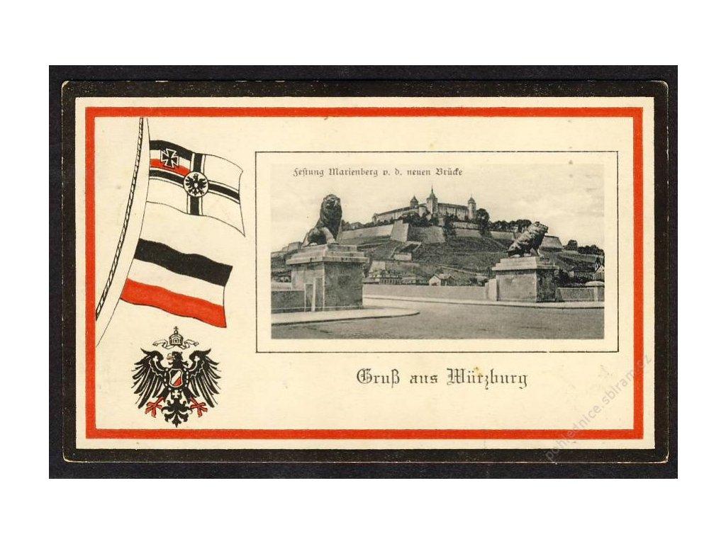 Deutschland, Gruss aus Würzburg, Festung Marienberg v. d. neuen Brücke, cca 1918