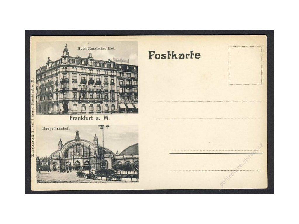 Deutschland, Frankfurt a. M., Hotel Russischer Hof, Haupt-Bahnhof, cca 1905