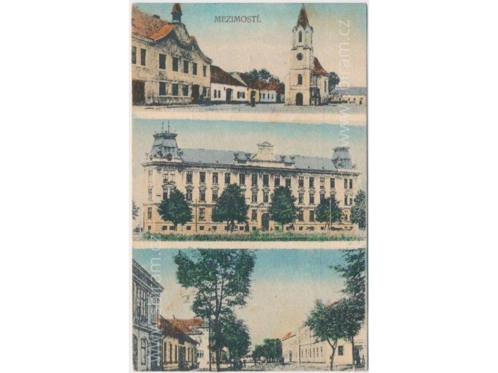 64 - Táborsko, Mezimostí, 3 - záběr dominant města, cca 1921