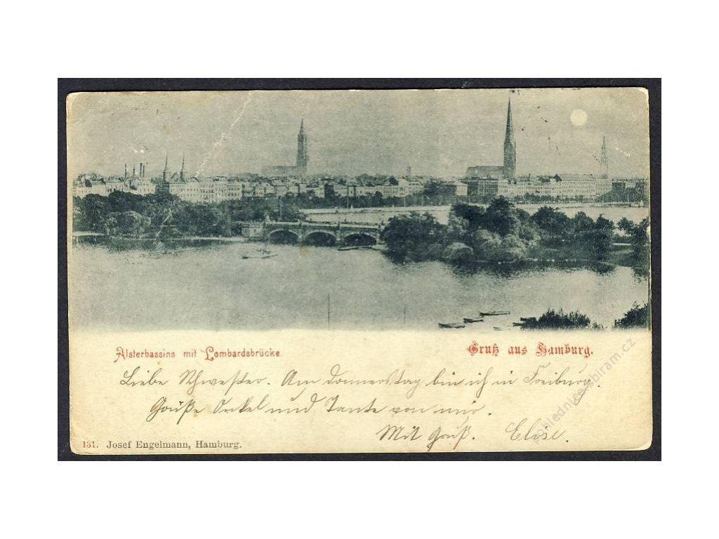 Deutschland, Gruss aus Hamburg, Alsterbassins mit Lombardsbrücke, cca 1899