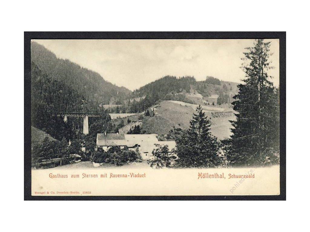 Deutschland, Höllenthal, Schwarzwald, Gasthaus mit Ravenna-Viaduct, cca 1898