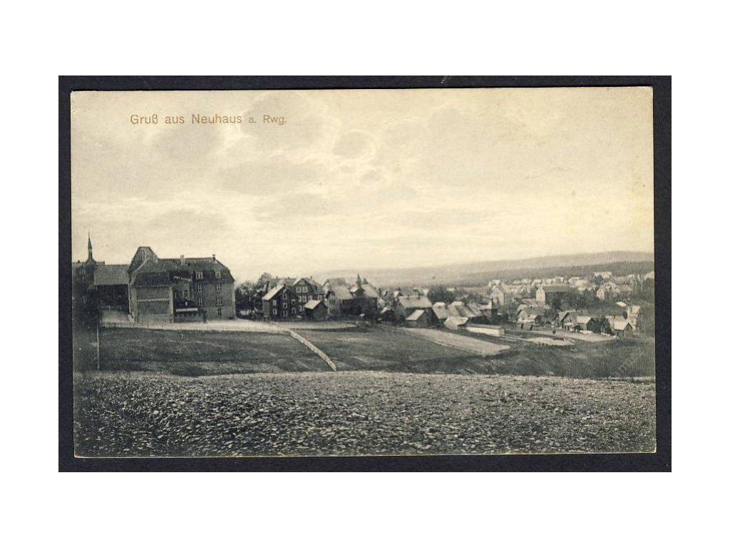 Deutschland, Gruss aus Neuhaus a. Rwg., Totalansicht, cca 1910