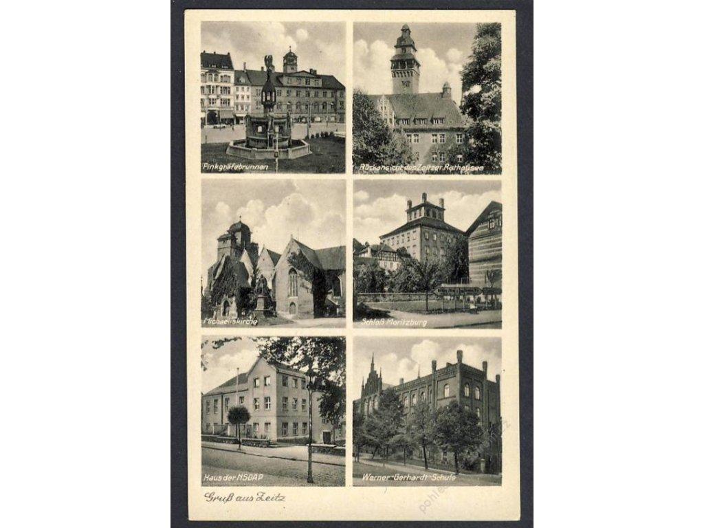 Deutschland, Gruss aus Zeitz, Finkgräfebrunnen, Michaeliskirche u. Ä., cca 1935