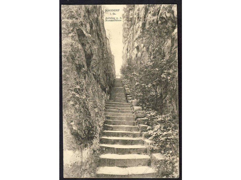 Deutschland, Jonsdorf i. Sa., Aufstieg z. d. Nonnenfelsen, cca 1911