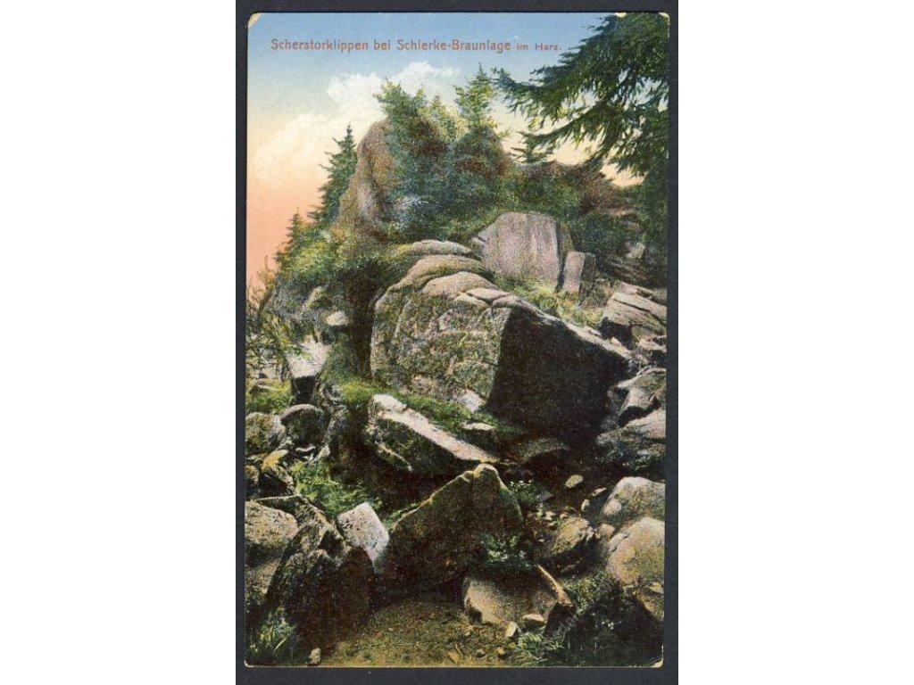 Deutschland, Scherstorklippen bei Schierke-Braunlage im Harz, cca 1908