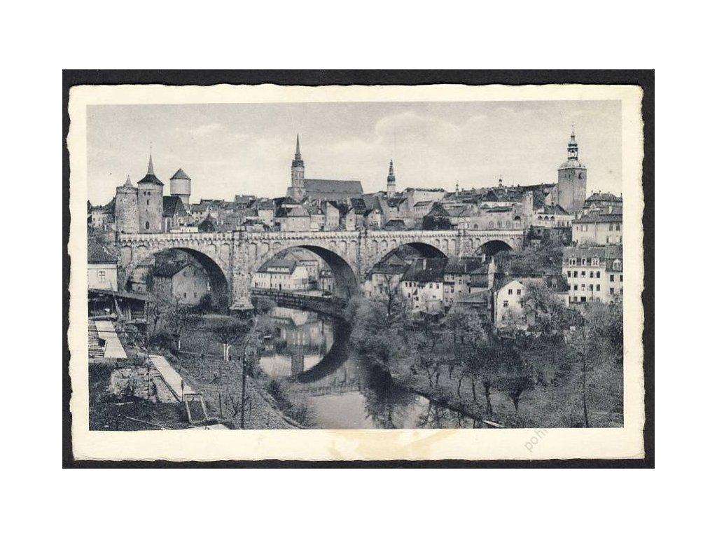 Deutschland, Bautzen, Teilansicht mit Spree und Kronprinzenbrücke, cca 1940