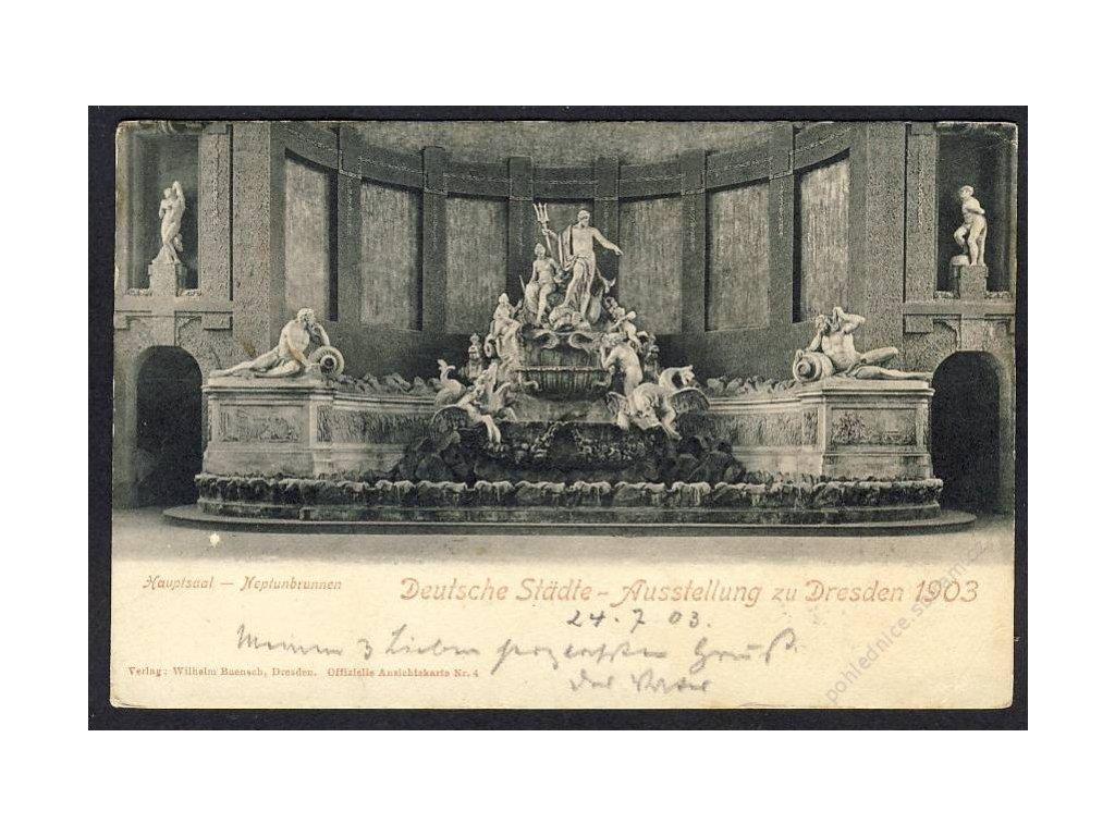 Deutschland, Dt. Städte-Ausstellung zu Dresden 1903, Hauptsaal-Neptunbrunnen, cca 1903