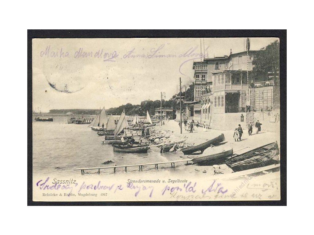 Deutschland, Sassnitz, Strandpromenade u. Segelboote, cca 1903