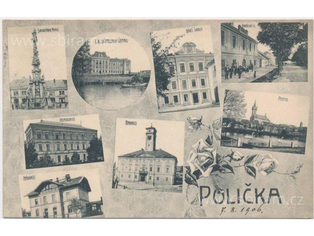 61 - Svitavsko, Polička, 8-mi záběr dominant(nádraží, radnice...),1908