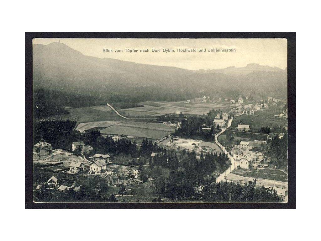 Deutschland, Blick vom Töpfer nach Dorf Oybin, Hochwald und Johannisstein, cca 1909
