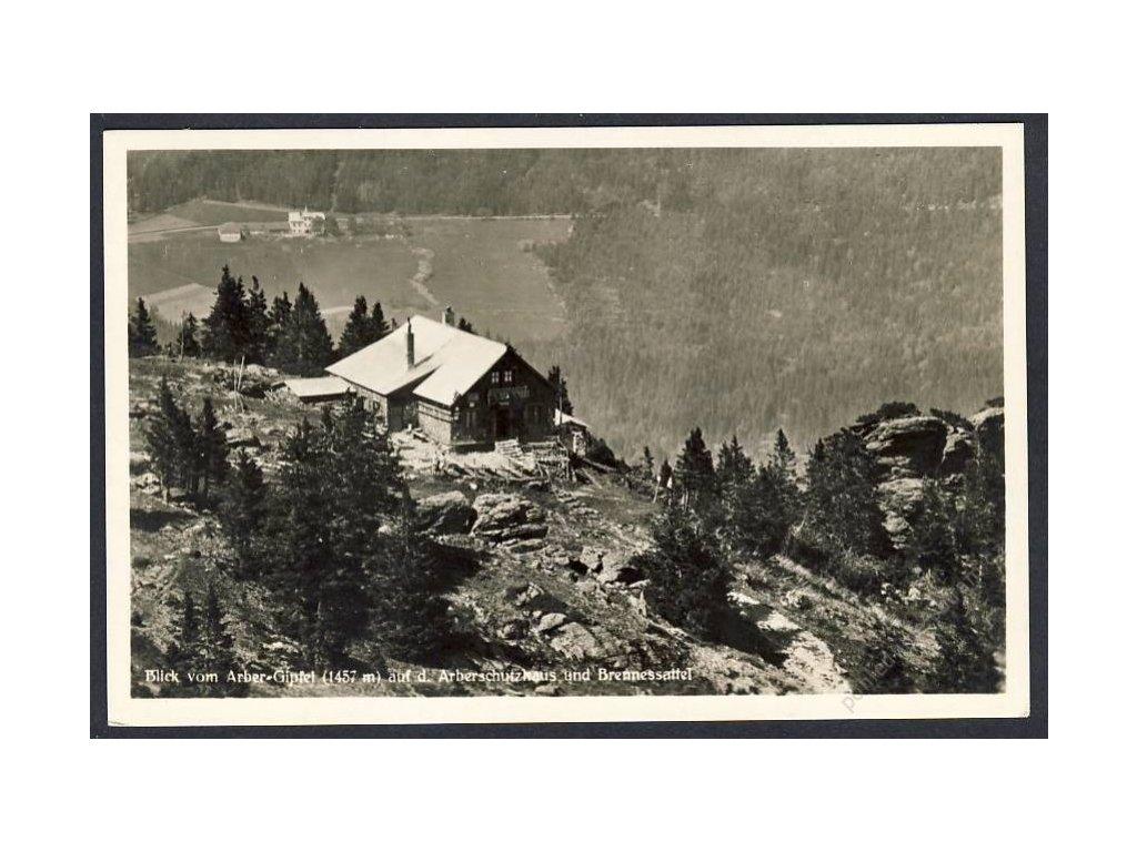 Deutschland, Blick vom Arber-Gipfel auf d. Arberschutzhaus u. Brennessattel, cca 1932
