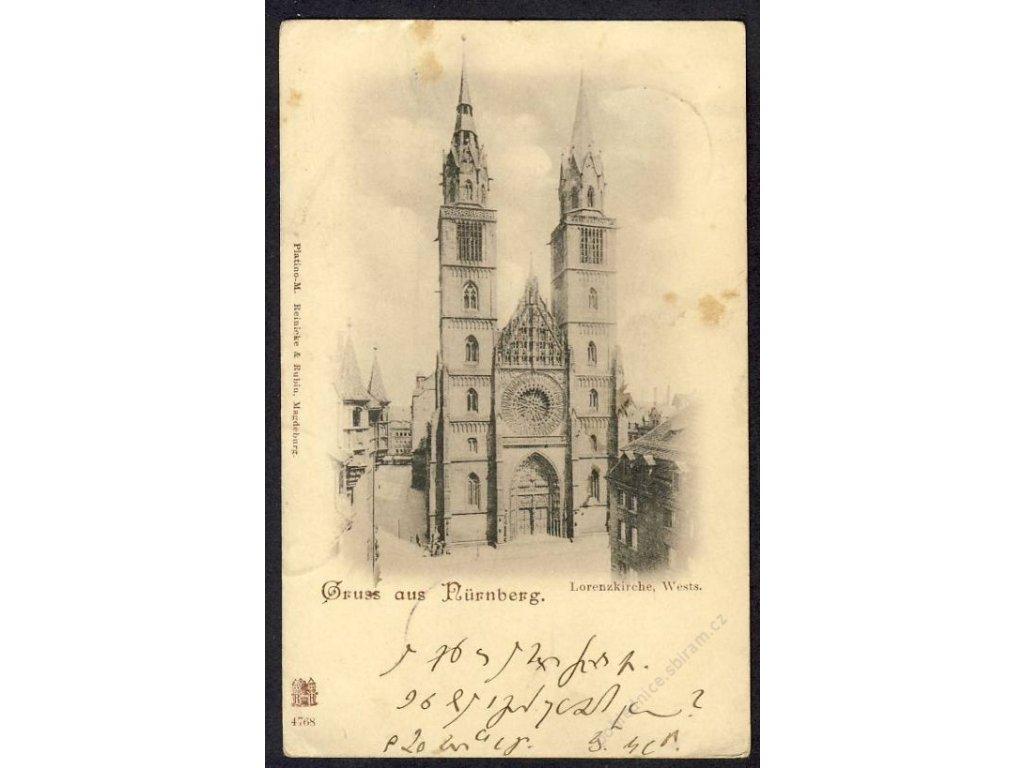 Deutschland, Gruss aus Nürnberg, Lorenzkirche, cca 1898