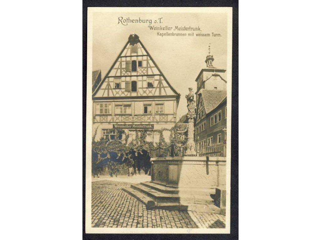 Deutschland, Rothenburg o. T., Weinkeller Meistertrunk, Kapellenbrunnen, cca 1915
