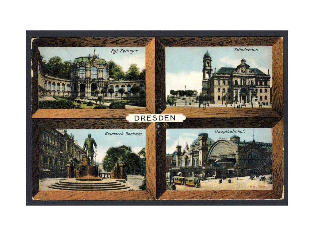 Deutschland, Dresden, Zwinger, Ständehaus, Hauptbahnhof, Bismarck-Denkmal, cca 1911