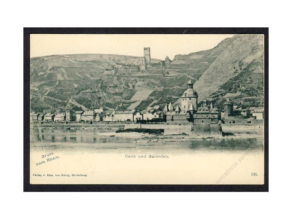 Deutschland, Gruss vom Rhein, Caub u. Gutenfels, cca 1898
