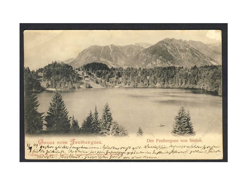 Deutschland, Gruss vom Freibergsee, Der Freibergsee vom Süden, cca 1899