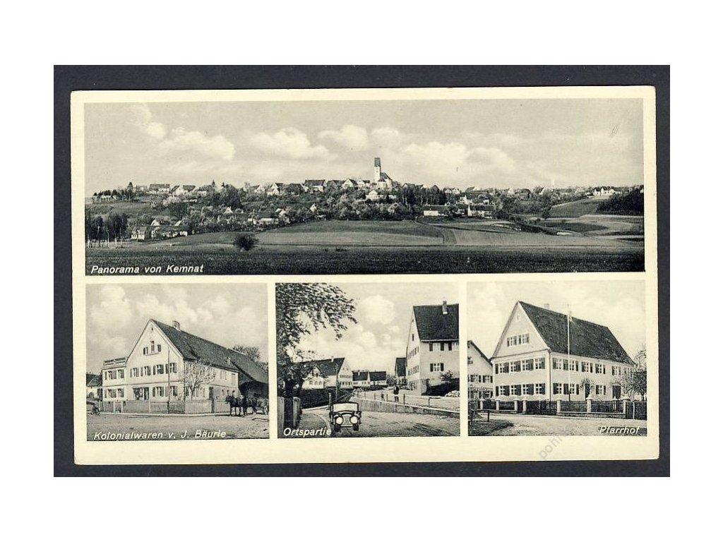 Deutschland, Panorama von Kemnat, Ostpartie, PfarrhofKolonialwaren v. J. B., cca 1925