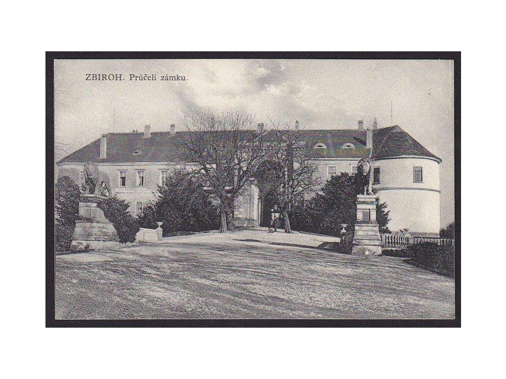 56 - Rokycansko, zámek Zbiroh, průčelí, cca 1908