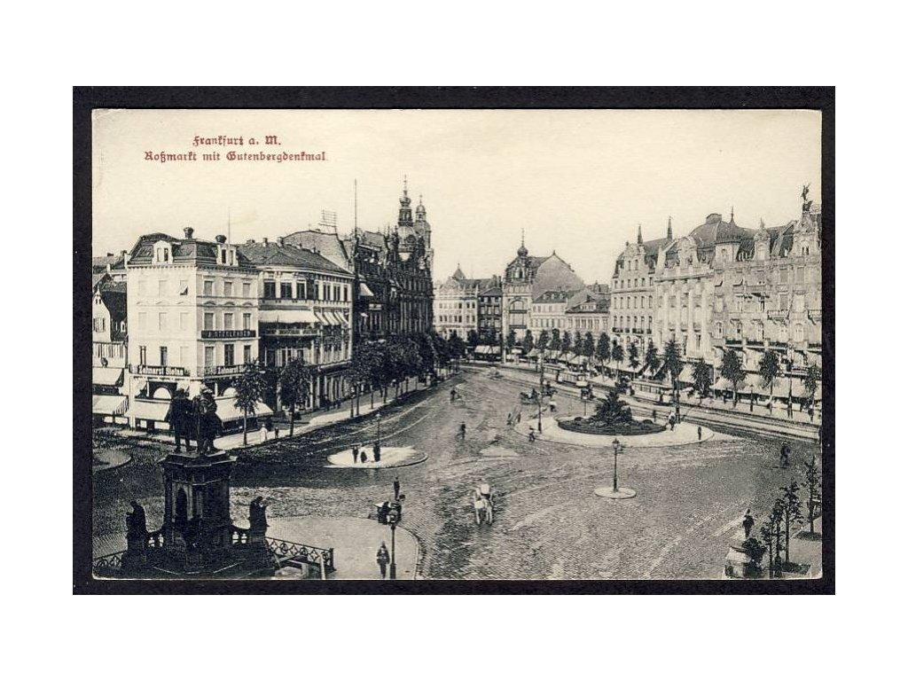 Deutschland, Frankfurt a. M., Hofmarkt mit Gutenbergdenkmal, cca 1910
