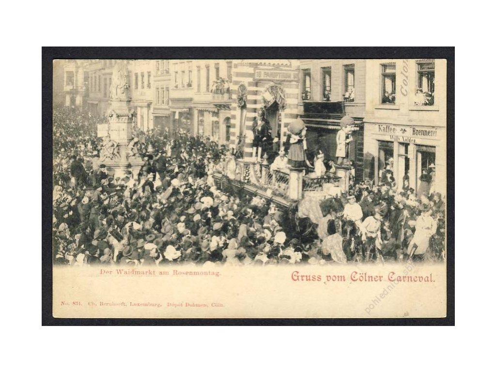 Deutschland, Gruss vom Cölner Carneval, Der Waidmarkt am Rosenmontag, cca 1898