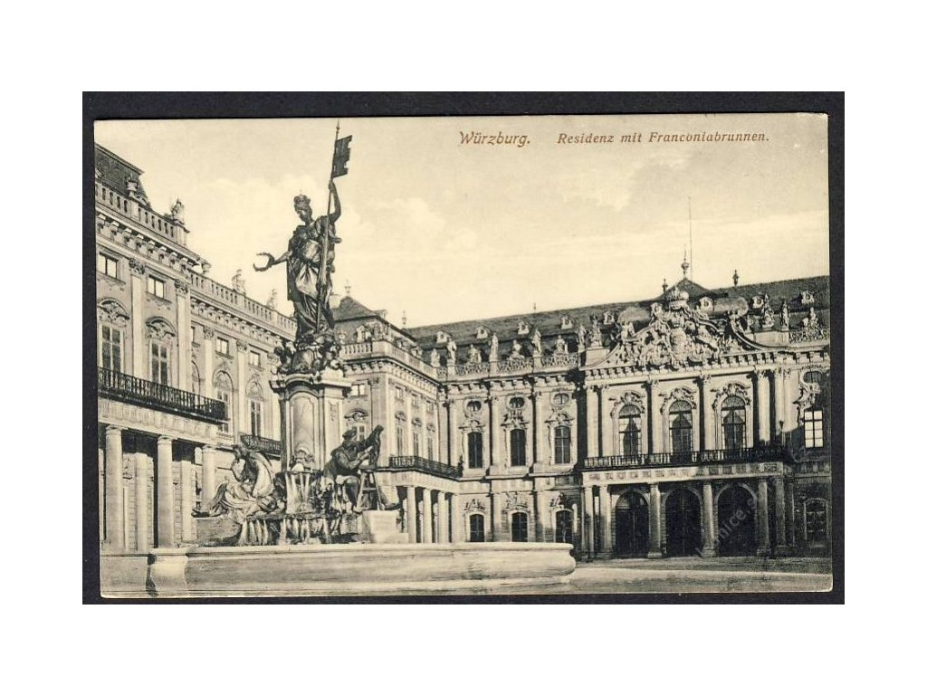 Deutschland, Würzburg, Residenz mit Franconiabrunnen, cca 1915