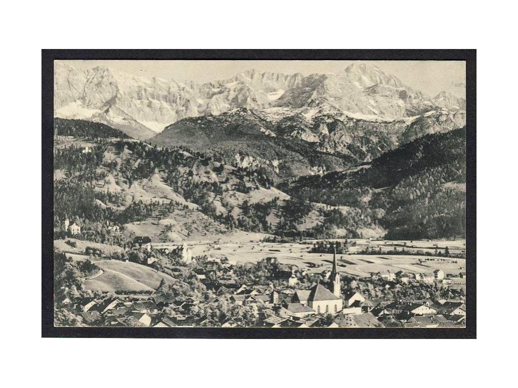 Deutschland, Partenkirchen, Wattersteingebirge m. Dreitorspitze u. Schachen, cca 1905